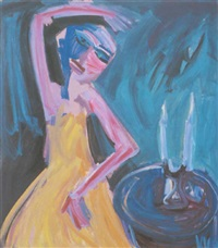 woman with candles by vicki varvaressos