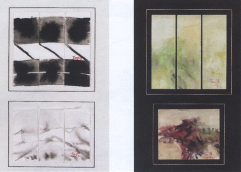 abstract painting 2 miniature triptychs by tang haywen