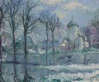 the mill in the flood, giverny by theodore earl butler