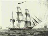 le trois mâts barque commerce de bordeaux faisant route au prêt by ainé andrieu