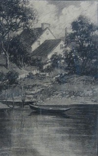 house on the riverbank by charles schell corson