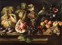 natura morta con zucche, anguria, uve, pesche e fichi by agostino verrocchi