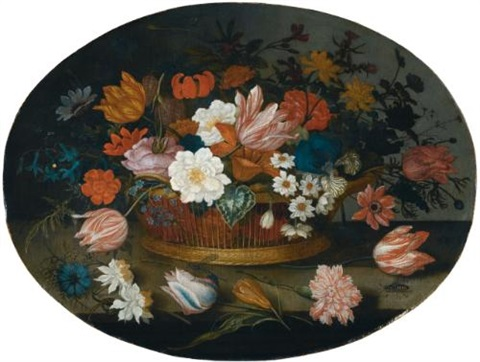 a still life of tulips roses narcissi daffodils hyacinths anemones and an iris in a basket on a stone ledge by balthasar van der ast