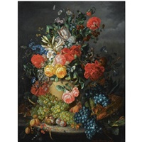 a flower still life with grapes by amalie kaercher