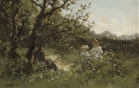 bloemenplukken: picking flowers in the dunes of scheveningen by johannes evert akkeringa