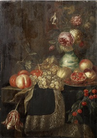 roses and other flowers in a kraak porcelain vase, on a draped table, with pomegranates, peaches, cherries and other fruit by harmen loeding