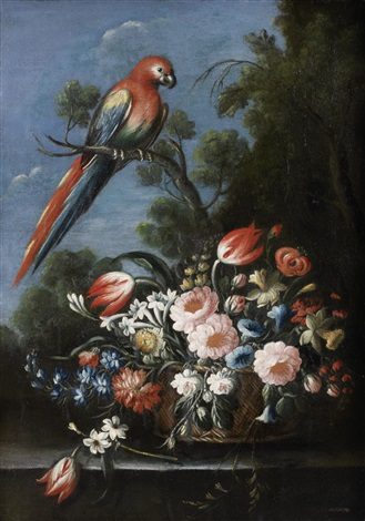 roses tulips jasmine and other flowers in a wicker basket on a stone ledge with a parrot by giuseppe pesci