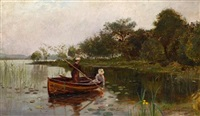 elegant women in a rowing boat by robert macaulay stevenson