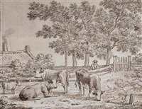 cattle and a goat in a field with a farmhouse beyond by anthony andriessen