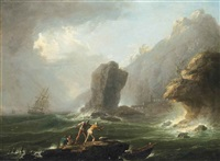 a stormy coastal landscape with fishermen pulling in their nets by francesco fidanza