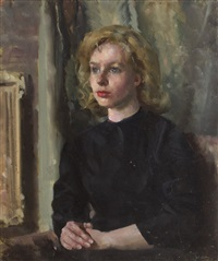 portrait of a young woman by james le jeune