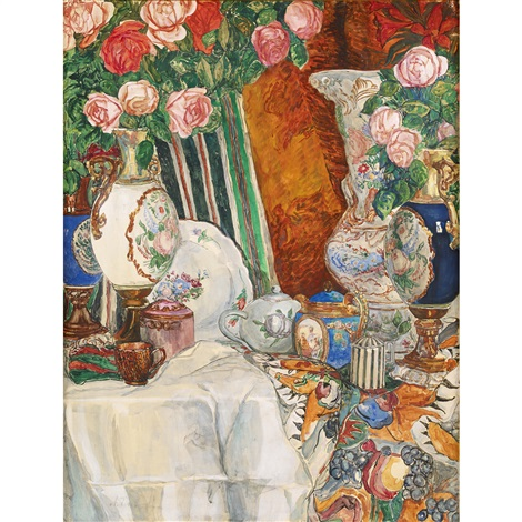 Still Life With Porcelain Vases And Flowers By Aleksandr Yakovlevich