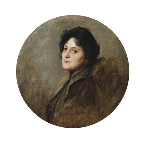 portrait of baronesse wolff von stomersee, née alice barbi, bust-length, in an oval mount by philip alexius de lászló