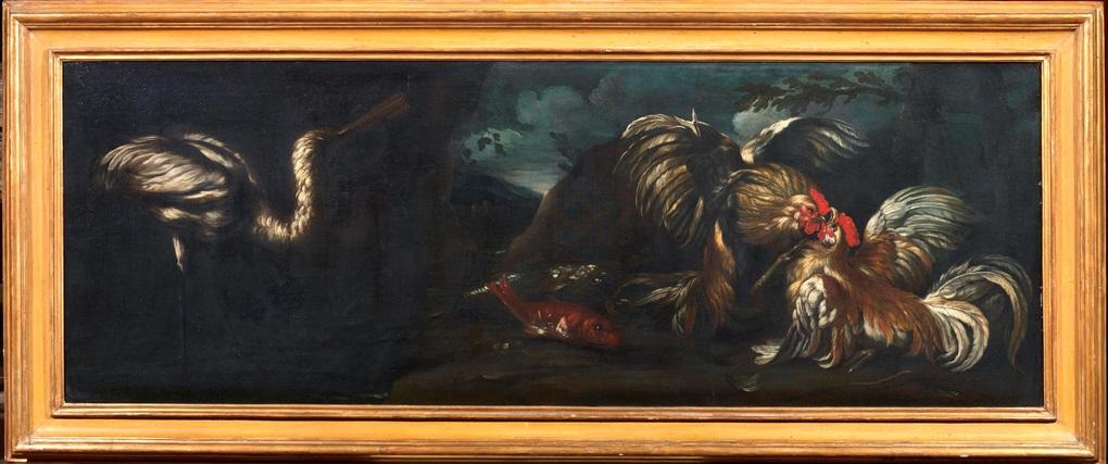 natura morta con due galli che combattono pesci ed airone in un paesaggio natura morta con tacchino gallo coniglio pappagallo airone in un paesaggio pair by giovanni agostino abate cassana