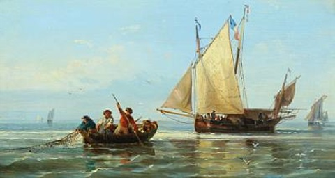 dutch fishermen pulling in the catch by a gins