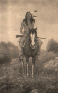 native american on horse by troy denton