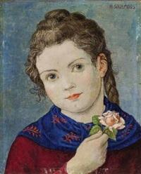 mädchen mit zopf und einer kleinen rose in der hand by hans huber-sulzemoos