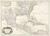 carte du mexique et de la floride des terres angloises et des isles antilles du cours et des environs de la riviere mississipi... by guillaume de l'isle