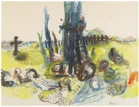 untitled (saxon landscape) by georg baselitz