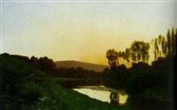 river landscape by ernest emile armand-delille