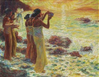 women with offerings in the surf at sunset by franz kienmayer