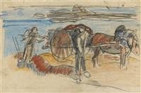 charette de varech (+ recto paysage breton, verso) by paul gauguin