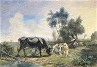 landschap met koeienhoedster by théodore fourmois