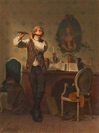 interieur mit flötenspieler by georg reimer