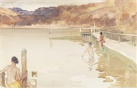 the girl in the blue bathing cap by william russell flint