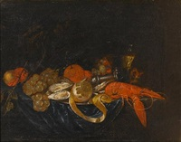 a pewter dish of oysters, lobster and a peeled lemon on a draped table with grapes, oranges and a roemer of white wine by jan pauwel gillemans the younger