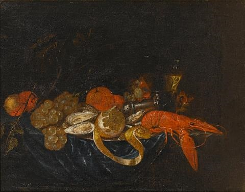 a pewter dish of oysters lobster and a peeled lemon on a draped table with grapes oranges and a roemer of white wine by jan pauwel gillemans the younger