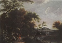 a wooded landscape with travellers resting and conversing on a path, hills beyond by jan snellinck iii