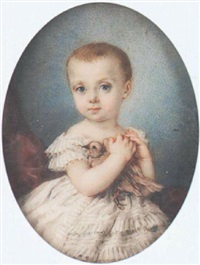 a child wearing frilled white dress with short sleeves, clasping a dove to its chest by héloïse suzanne colin leloir