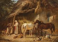 zigeuner bei der rast mit pferden vor bauernhaus by franz adam