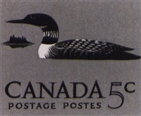 three designs of birds for a proposed canadian five cent stamp (+ a sketch of birch trees, various sizes; 4 works) by thoreau macdonald