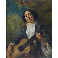 la guitariste (a portrait of george sand) by thomas couture