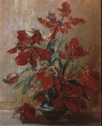 stilleben mit tulpen in vase by georg fischer-elpons