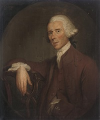 portrait of mr fullerton of carberry, in a brown coat and waistcoat by david allan