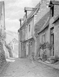 alpine village street by carl maria seyppel