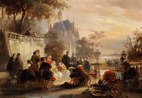 crowds in a park by jean jan michael ruyten