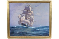 racing clipper ship adding sail by frank vining smith