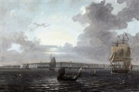 an english man-o'war and other shipping off ramsgate (+ an extensive landscape with two anglers in the forehead; 2 works) by adam callander