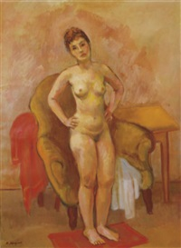 a standing nude posing in front of a chair by bernard karfiol