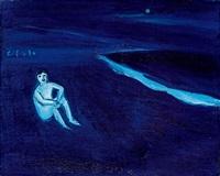 月下獨坐海岸 (sitting alone by the seashore) by zheng zaidong
