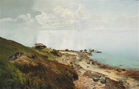 stille sommerdag ud over havet by janus andreas barthotin la cour