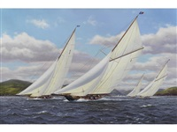 britannia, cambria lulworth and candida racing on the clyde by richard m. firth