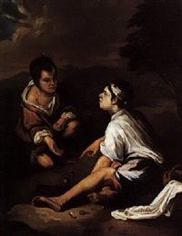 due pitocchi che giocano a dadi by edmond louis marie wagrez