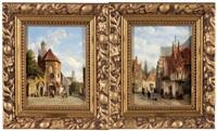 wiener stadtansicht mit figuraler staffage (+ another, similar; 2 works) by josef holzstayn