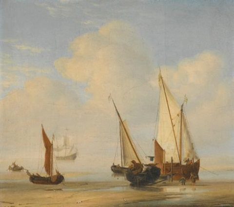 a smalschip with sail set at anchor close to the shore and a boeier laid ashore by willem van de velde the elder