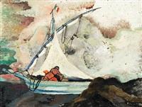 segelboot bei vietri (unweit von neapel) by heinrich ehmsen